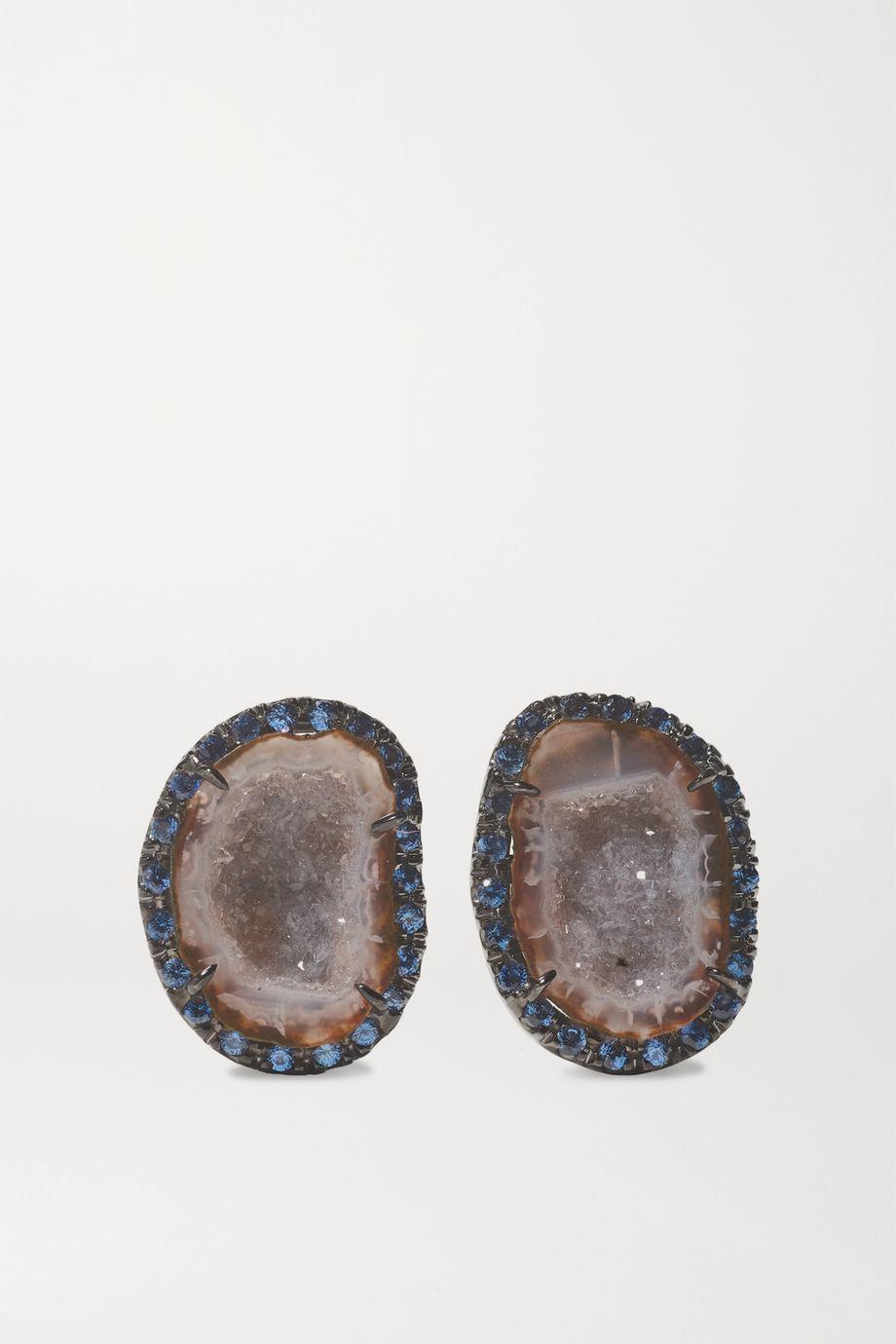 Kimberly McDonald 18-karat blackened white gold, geode and sapphire earrings