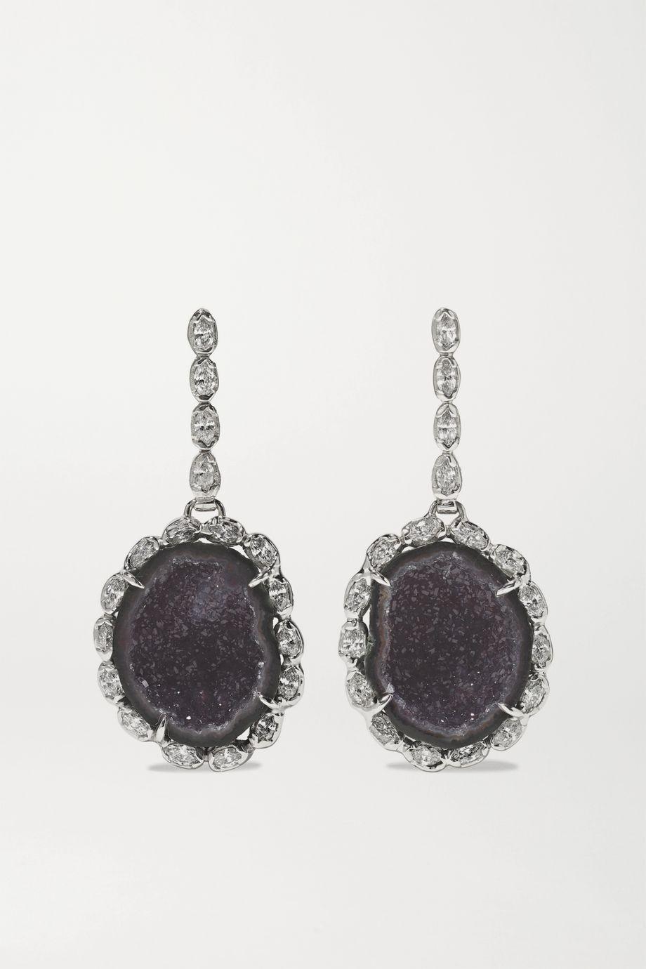 Kimberly McDonald 18-karat white gold, geode and diamond earrings
