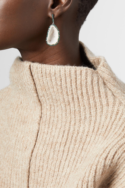 Kimberly McDonald 18-karat blackened white gold, geode and emerald earrings