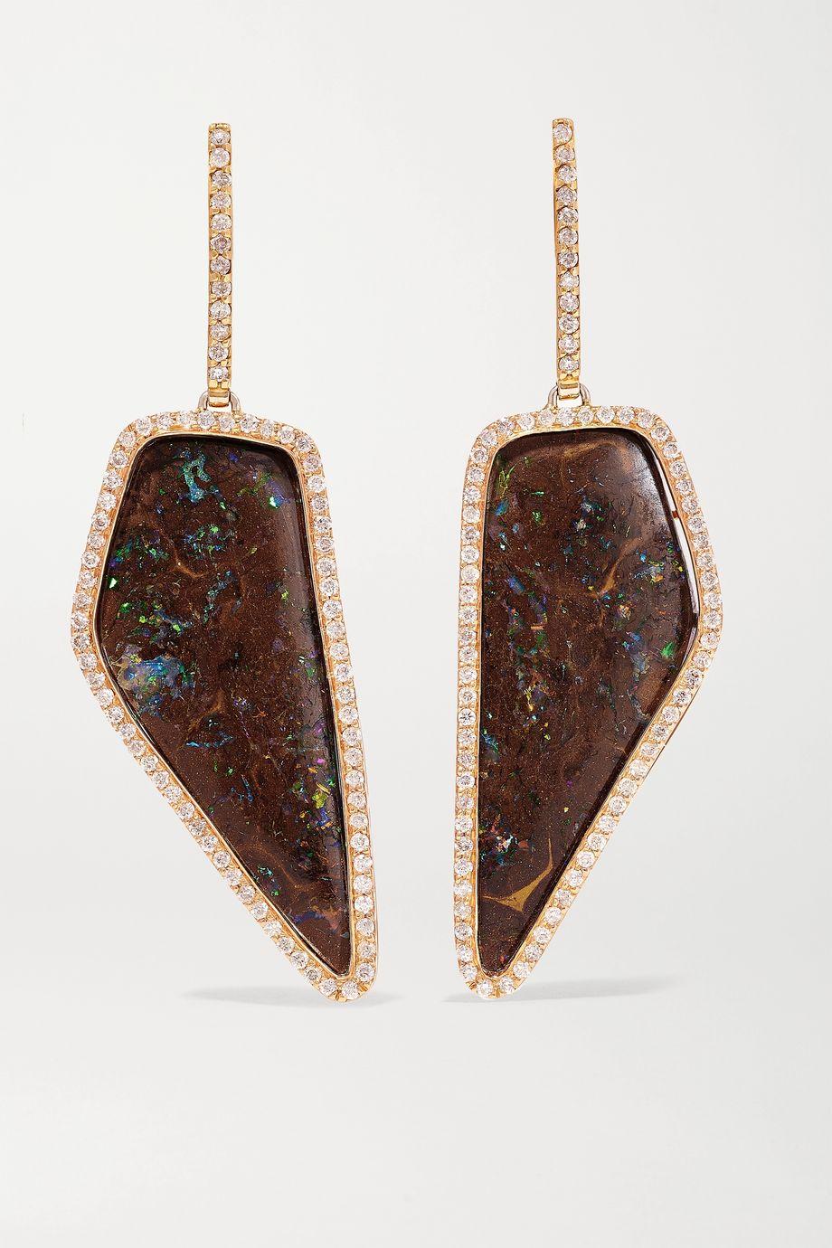 Kimberly McDonald Boucles d'oreilles en or rose 18 carats, opales et diamants