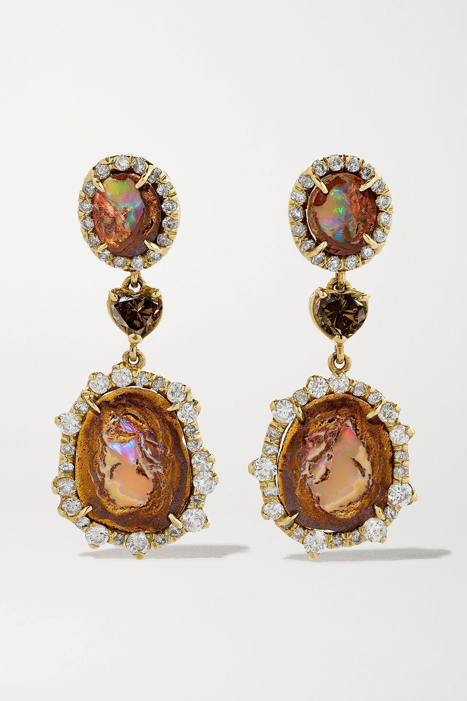 Kimberly McDonald 18-karat green gold, opal and diamond earrings