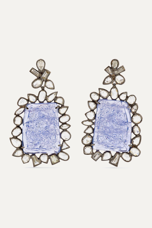 Kimberly McDonald Boucles d'oreilles en platine noirci, tanzanites et diamants