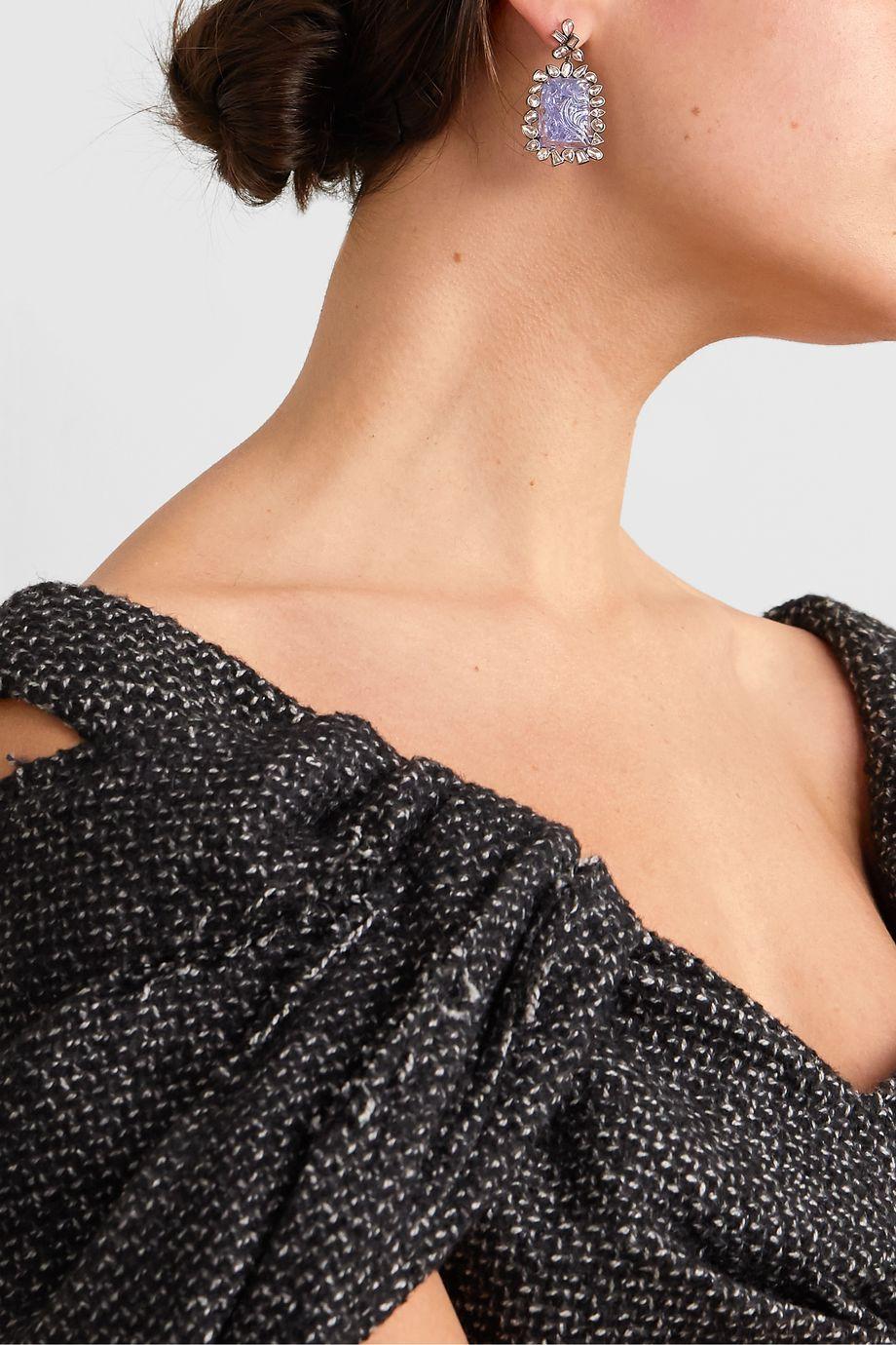 Kimberly McDonald Blackened platinum, tanzanite and diamond earrings