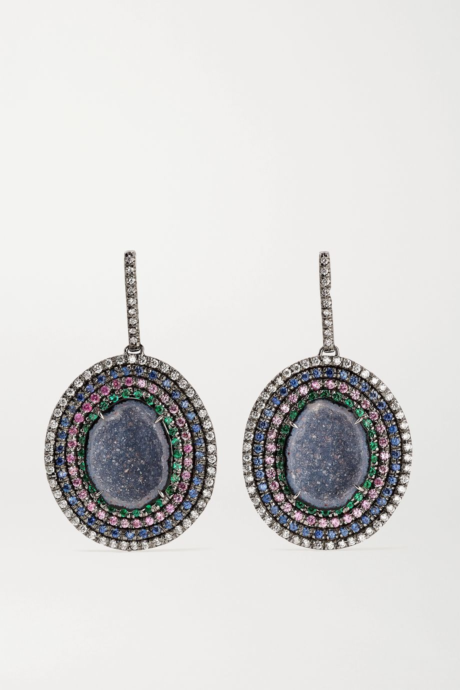 Kimberly McDonald 18-karat blackened white gold multi-stone earrings