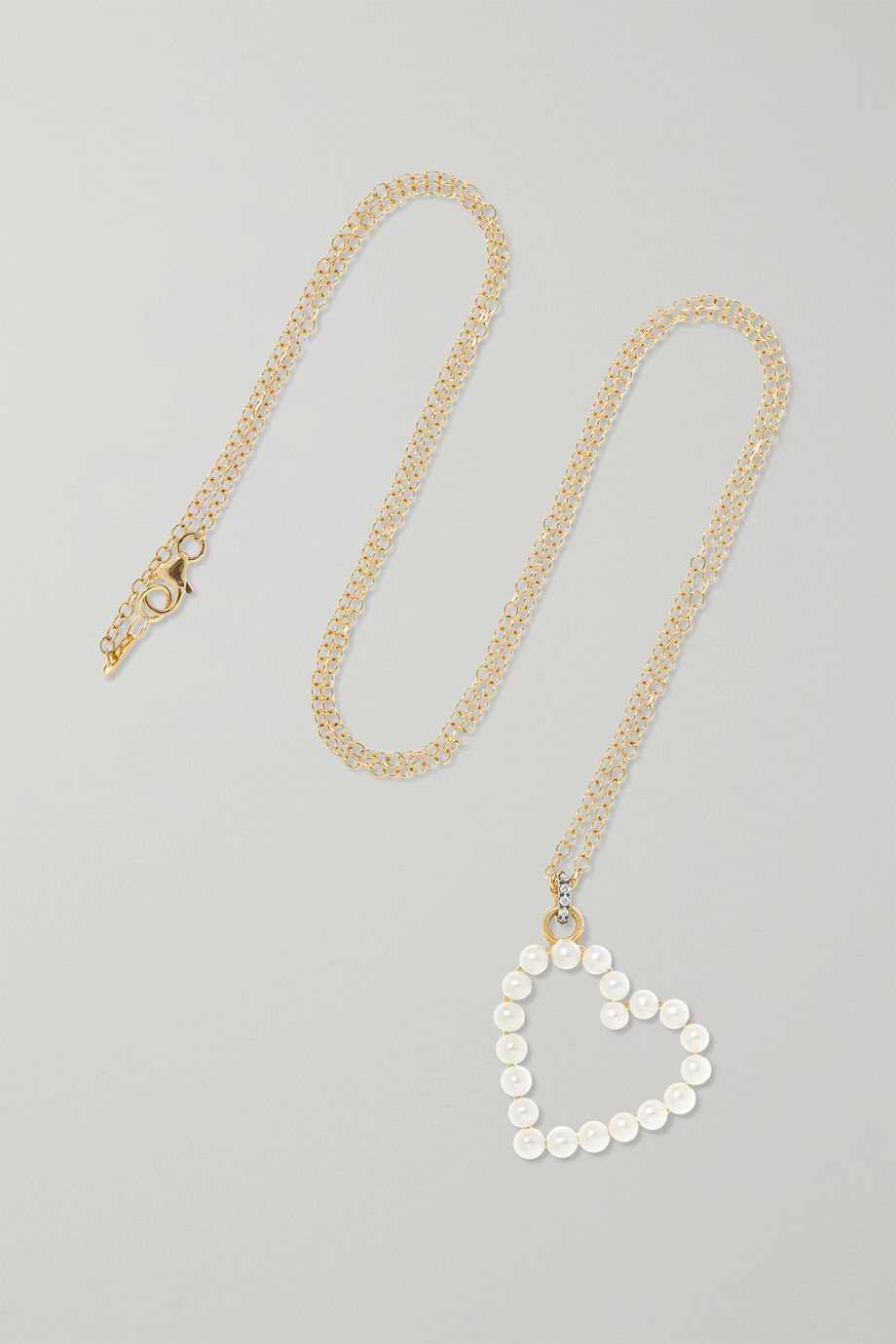 Jemma Wynne 18-karat gold, diamond and pearl necklace