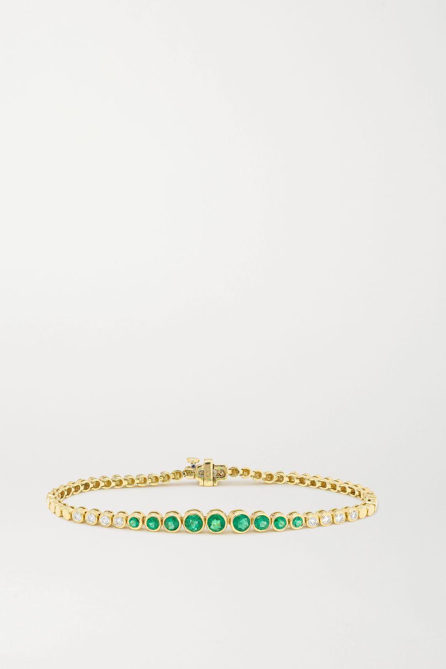 Jemma Wynne Armband aus 18 Karat Gold mit Smaragden und Diamanten