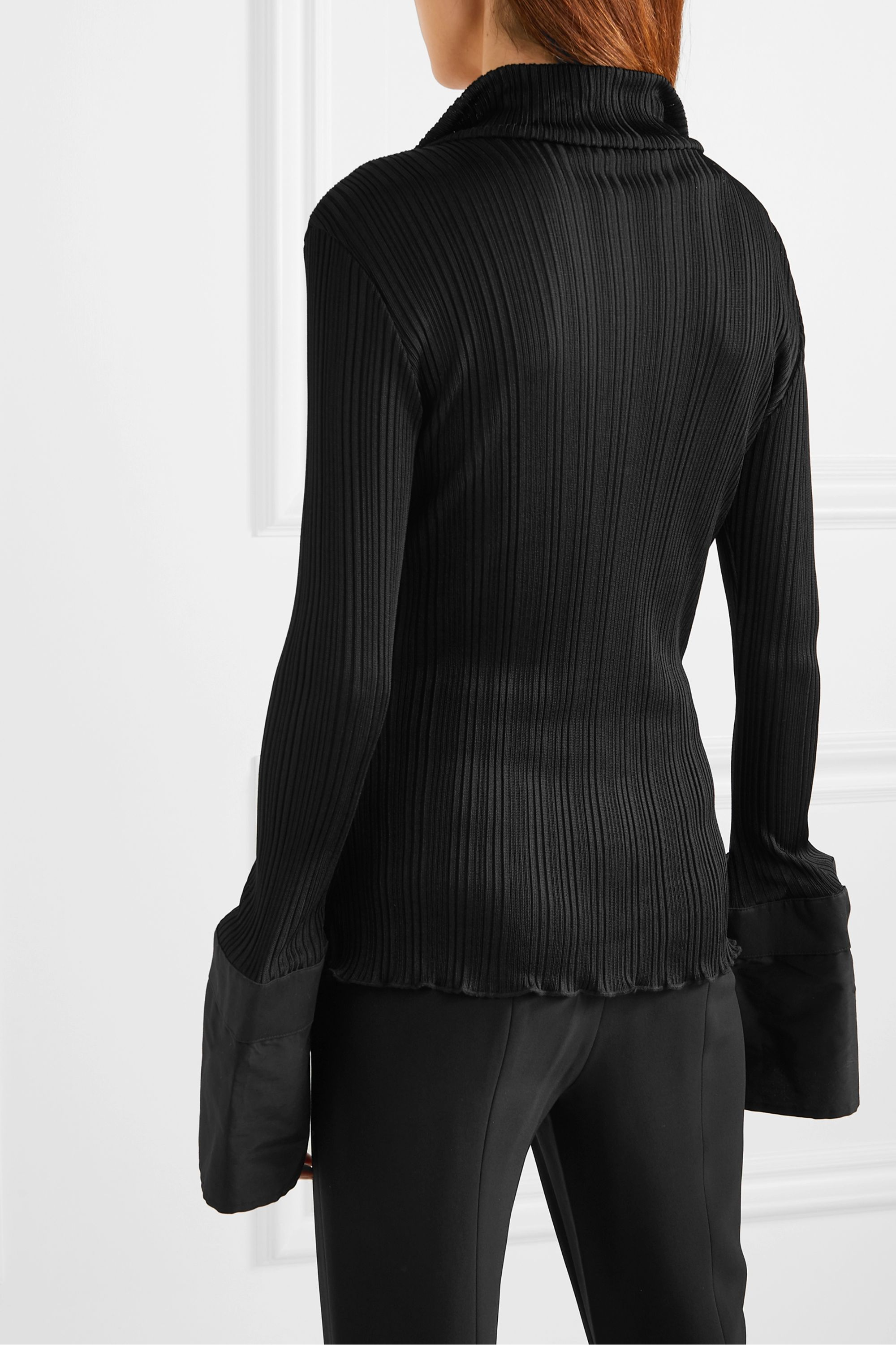 Ellery Arcade Tulip faux leather-trimmed cotton poplin and ribbed-knit top