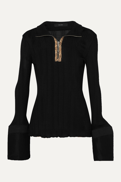 Ellery Knits Arcade Tulip faux leather-trimmed cotton poplin and ribbed-knit top