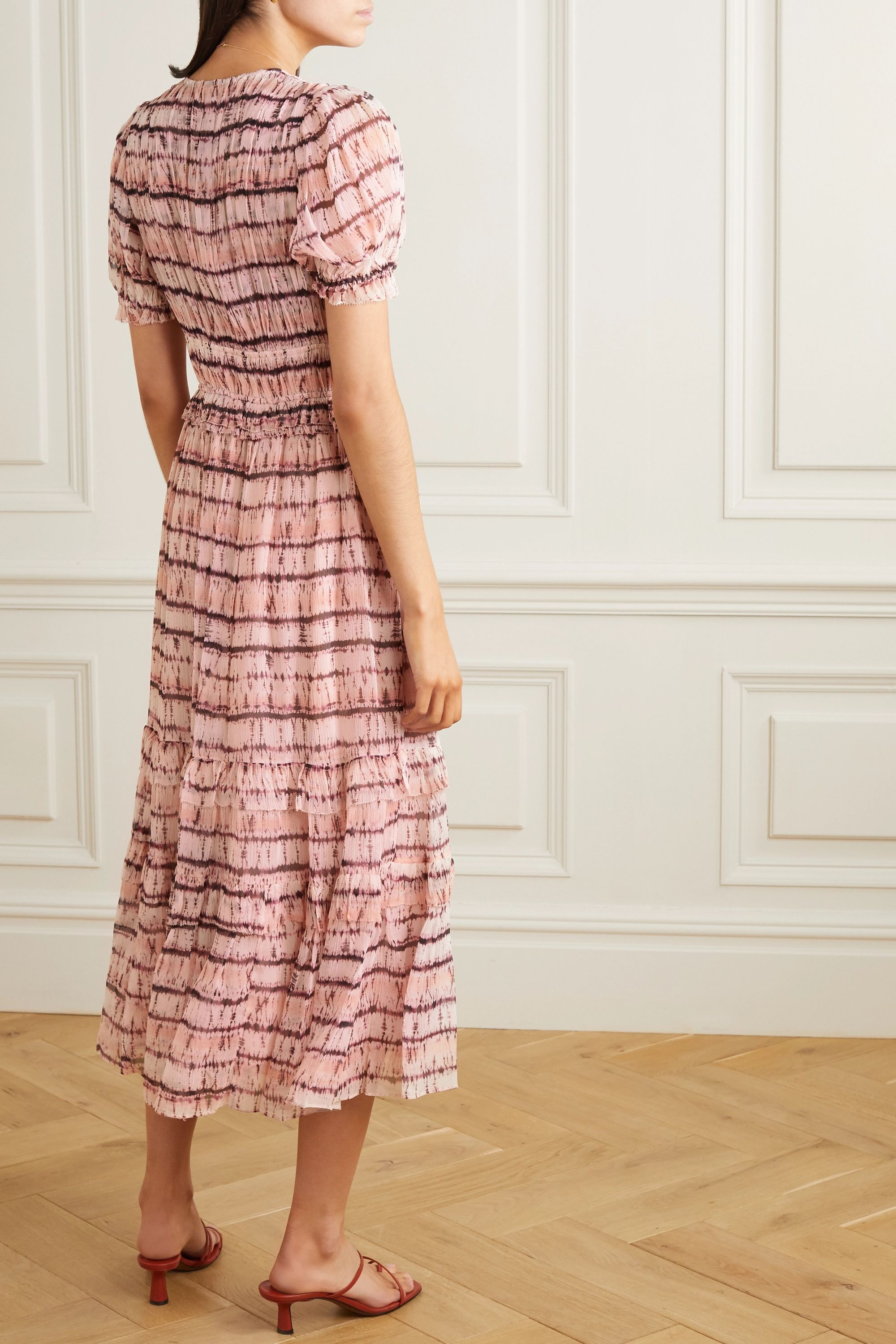 Ulla Johnson Elodie tiered tie-dyed silk-georgette maxi dress