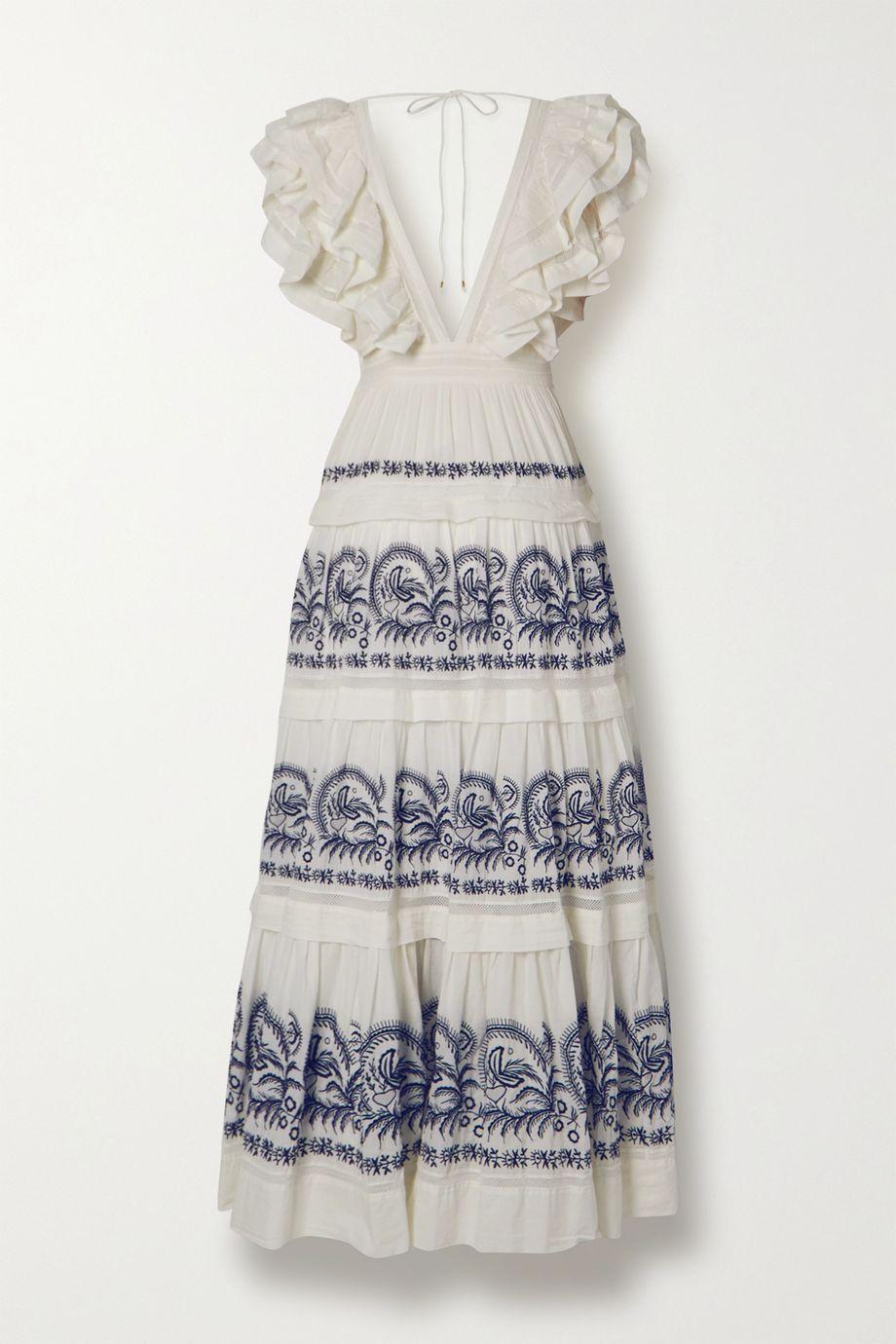 Ulla Johnson Majorie tiered ruffled embroidered cotton-gauze maxi dress