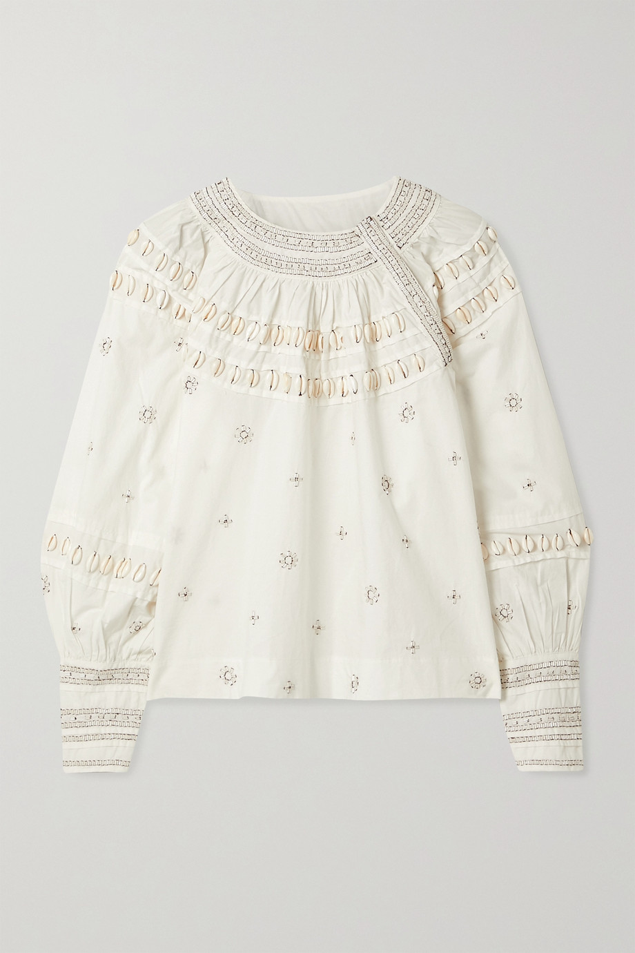 Ulla Johnson Tana embellished cotton-poplin blouse