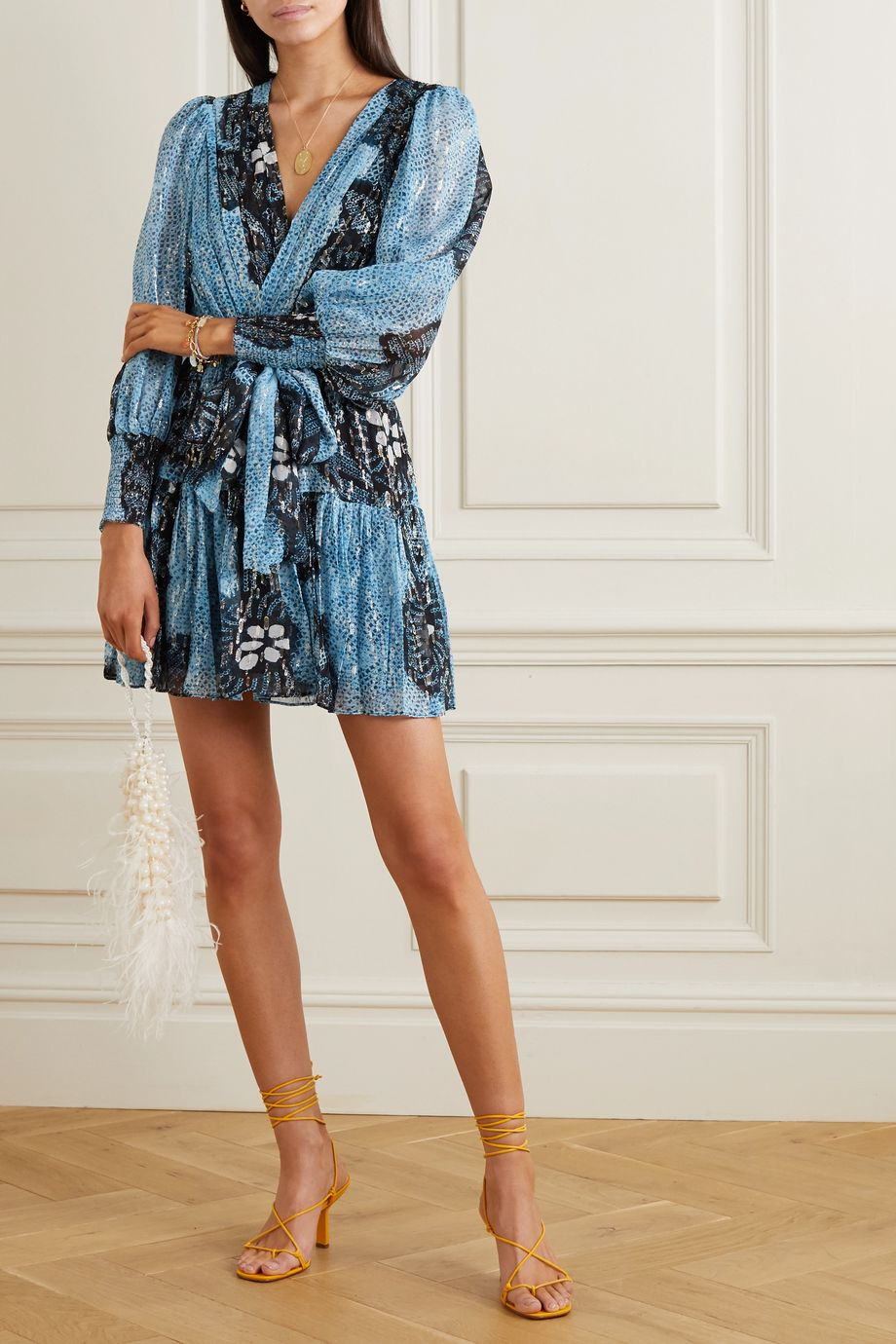 Ulla Johnson Noemi wrap-effect printed fil coupé silk and Lurex-blend mini dress