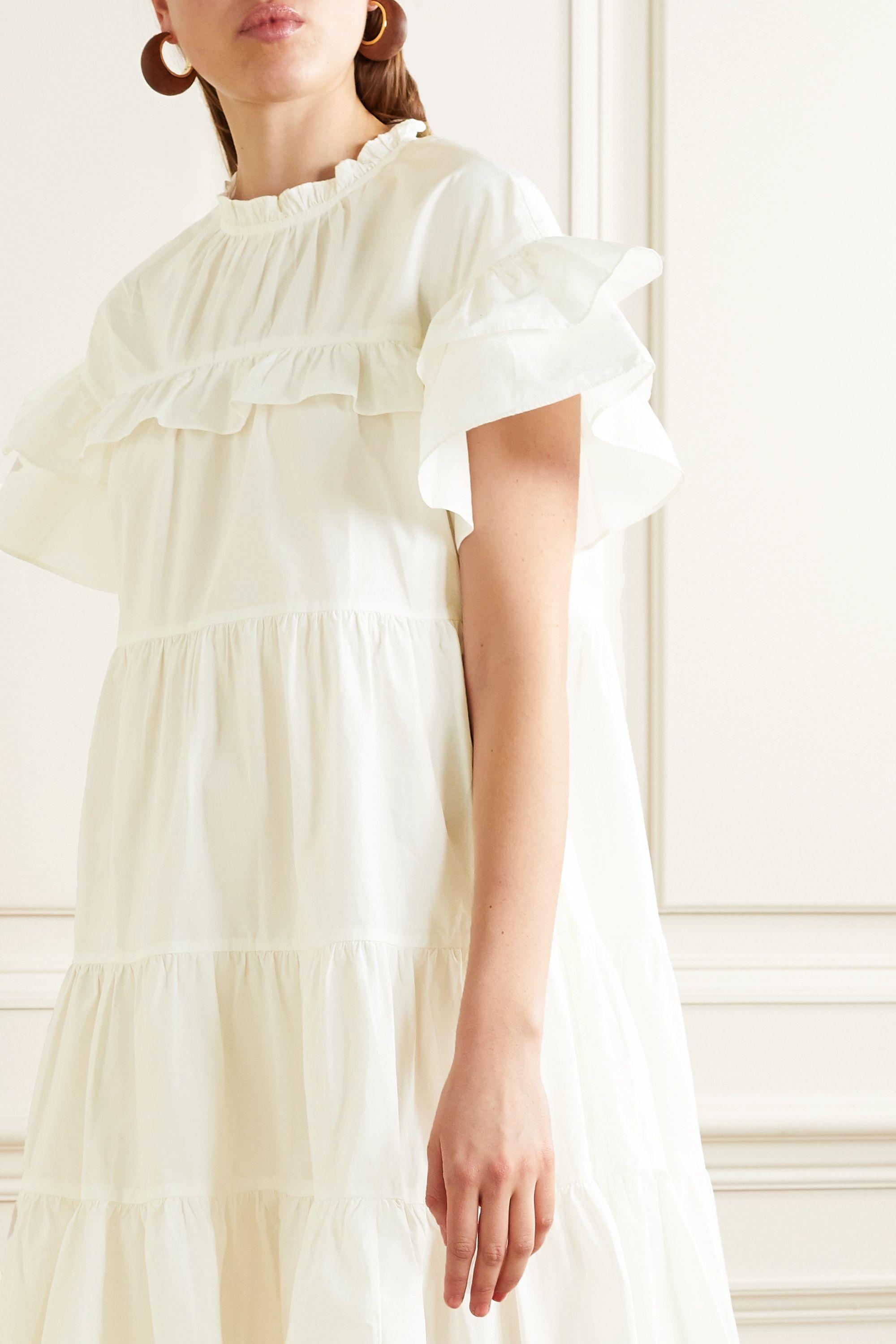 Ulla Johnson Leonie ruffled cotton-poplin mini dress