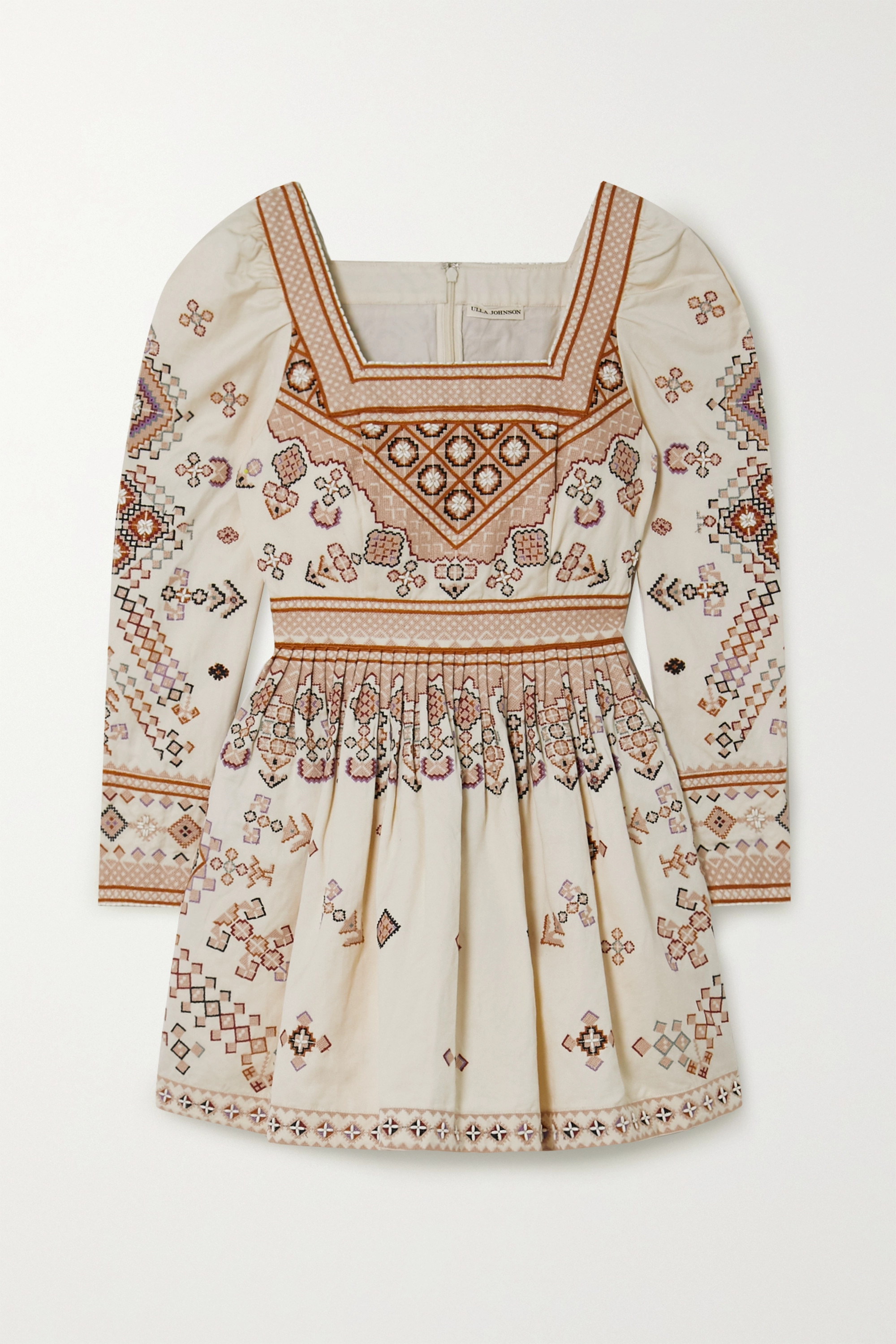 Ulla Johnson Adilah beaded-embellished embroidered cotton and linen-blend mini dress