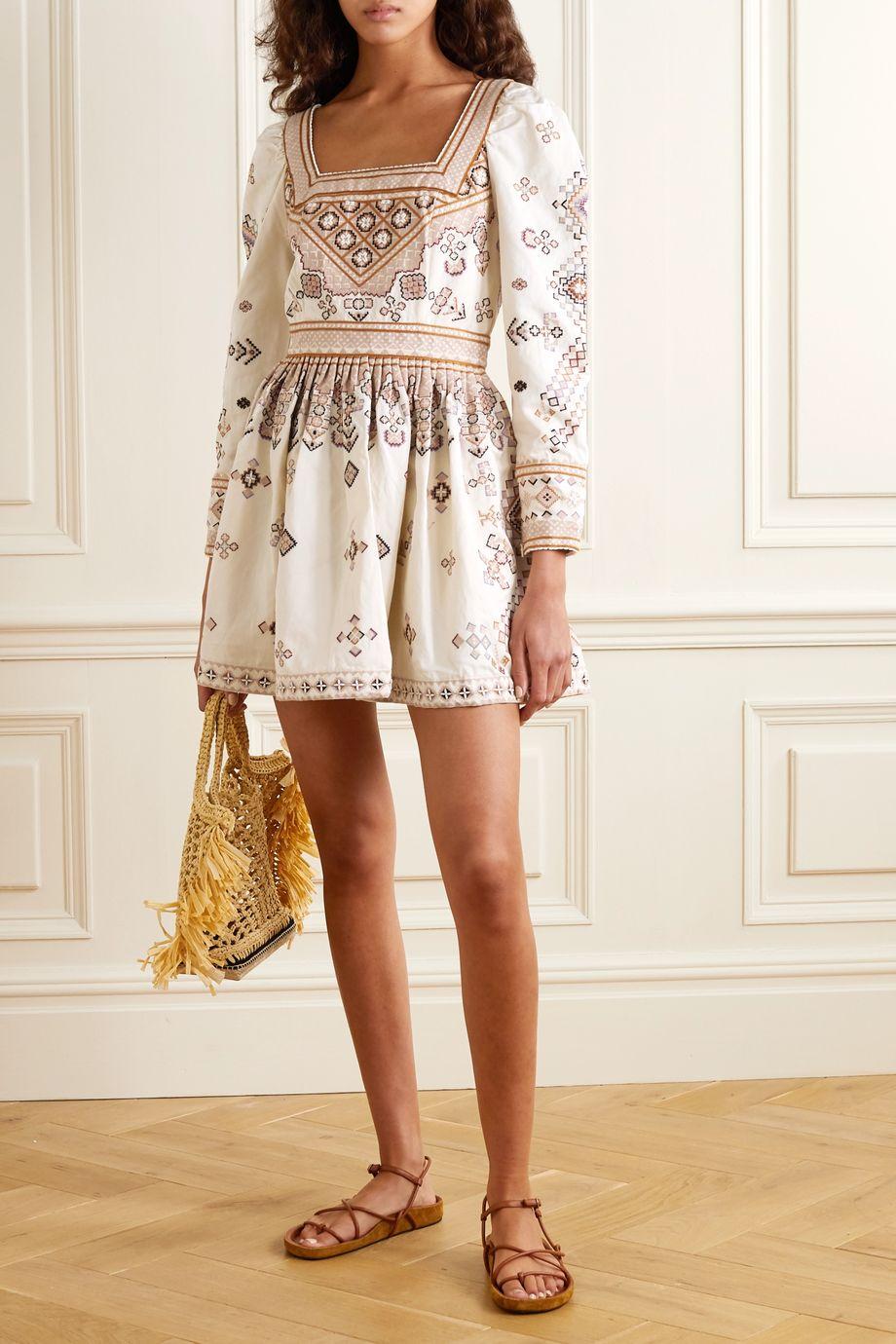 Ulla Johnson Adilah beaded-embellished embroidered cotton and linen-blend mini dress