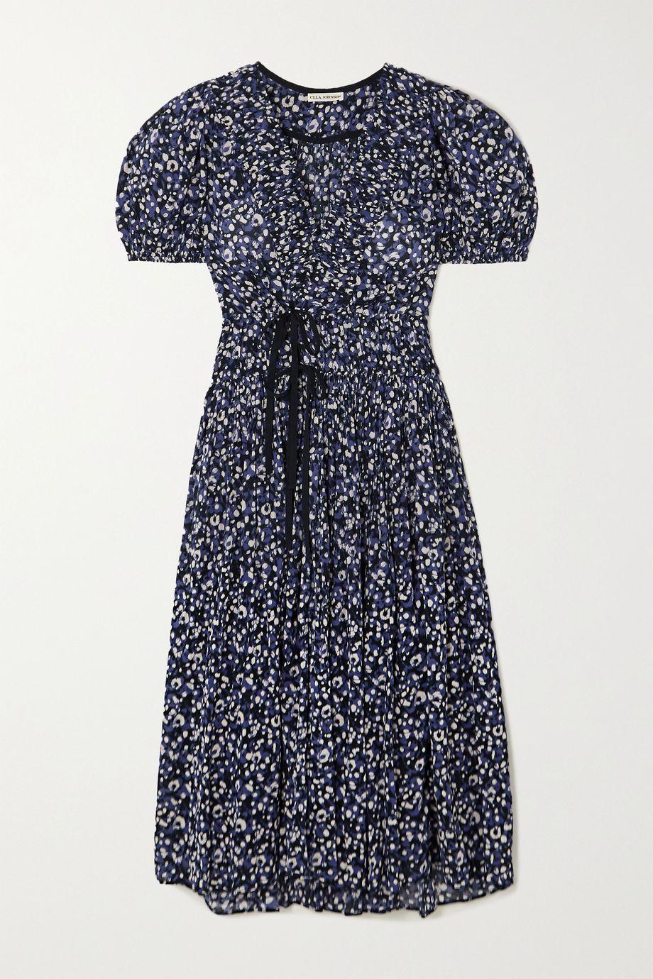 Ulla Johnson Kemala wrap-effect pintucked printed cotton-voile midi dress