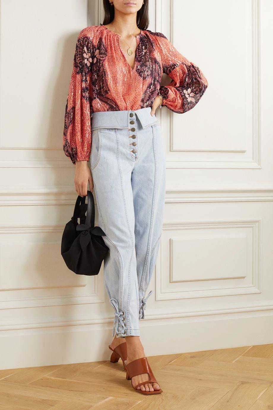Ulla Johnson Sanya printed fil coupé silk and Lurex-blend blouse