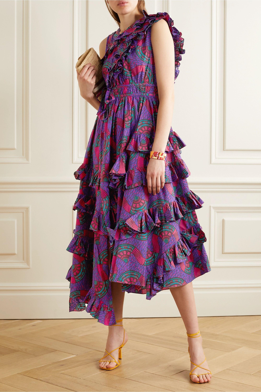 Ulla Johnson Imogen asymmetric ruffled printed cotton-poplin midi dress