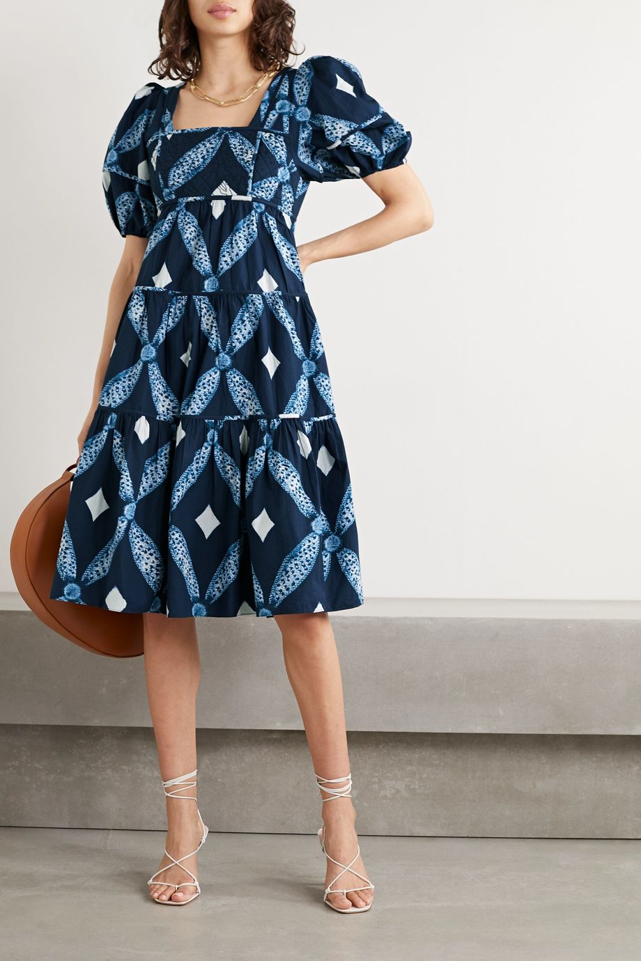 Ulla Johnson Nora tiered printed cotton-poplin midi dress