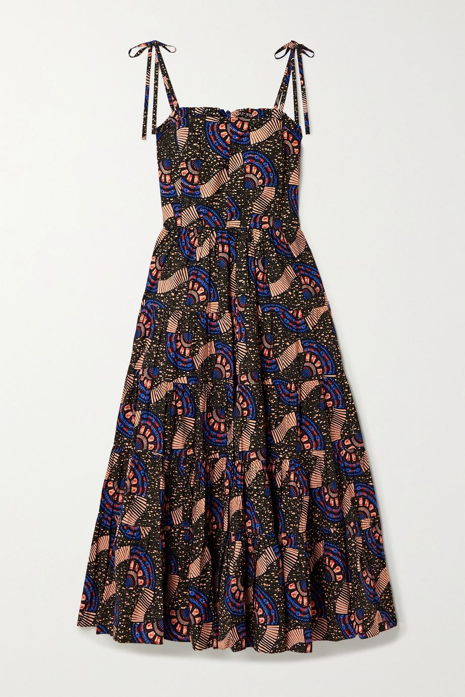 Ulla Johnson Ellyn ruffled printed cotton-poplin midi dress