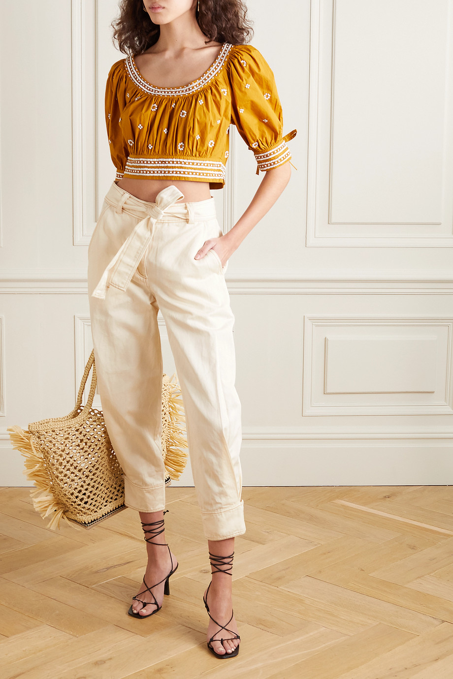 Ulla Johnson Levi belted cotton and linen-blend twill tapered pants