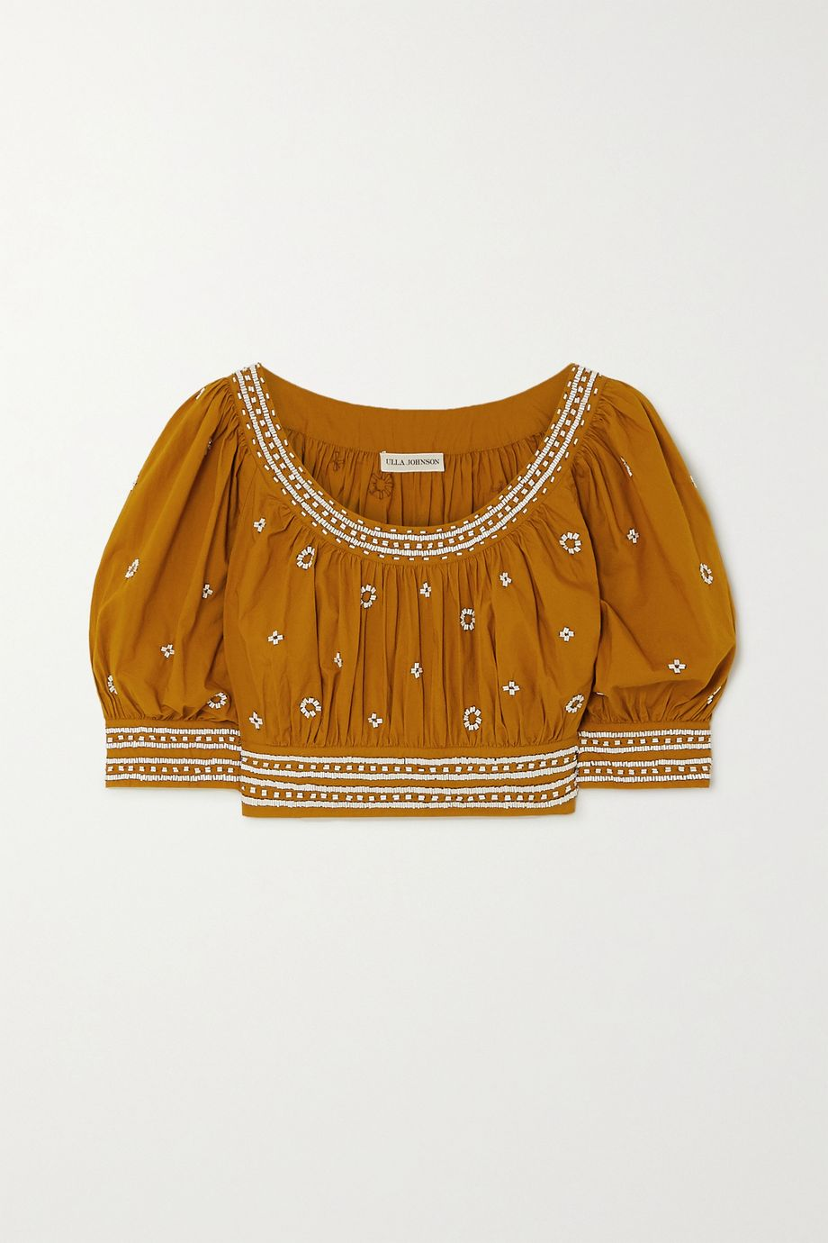 Ulla Johnson Zola cropped bead-embellished cotton top
