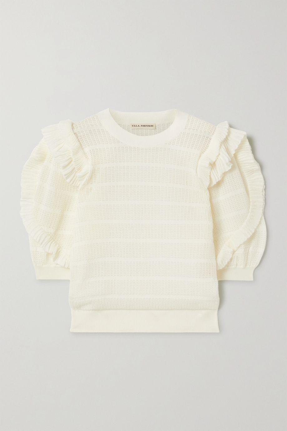 Ulla Johnson Aveline ruffled pointelle-knit cotton-blend top