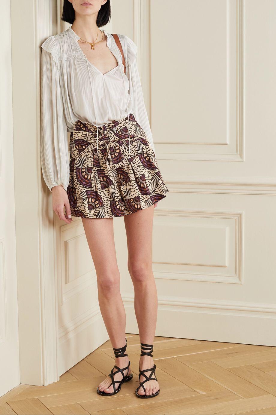 Ulla Johnson Paloma tie-front printed cotton-poplin shorts