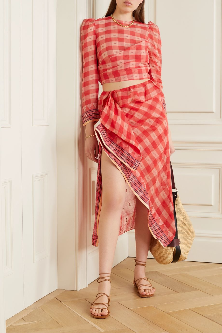 Ulla Johnson Merida jacquard-trimmed checked fil coupé cotton-voile skirt
