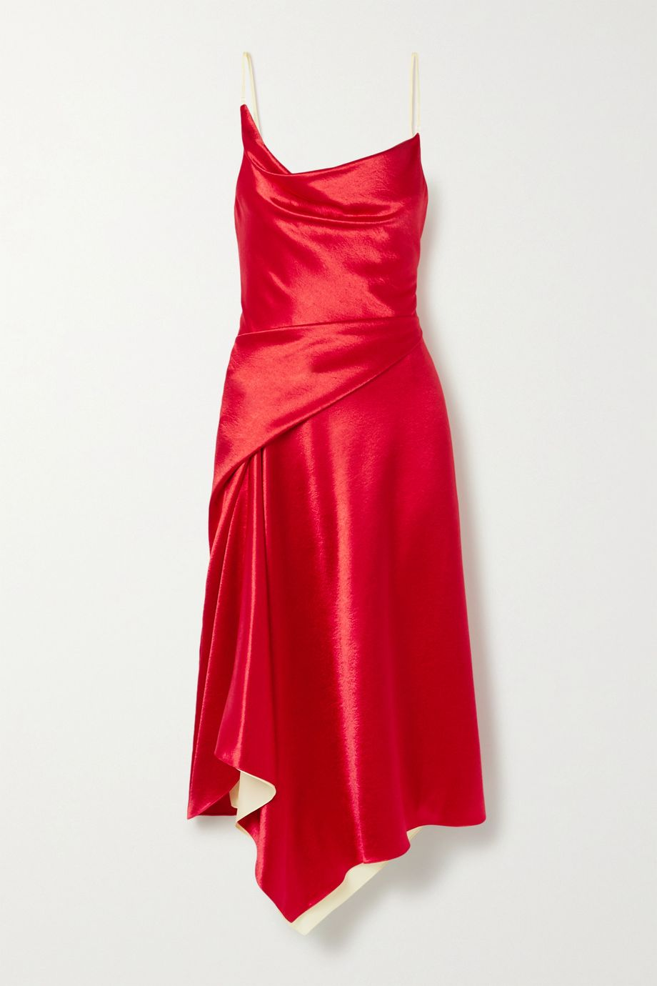 Sies Marjan Farrah asymmetric two-tone draped hammered-satin dress