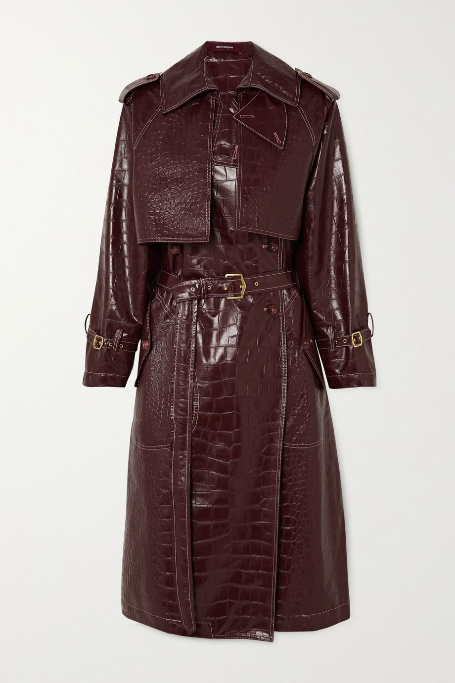 Sies Marjan Eva croc-effect faux leather trench coat