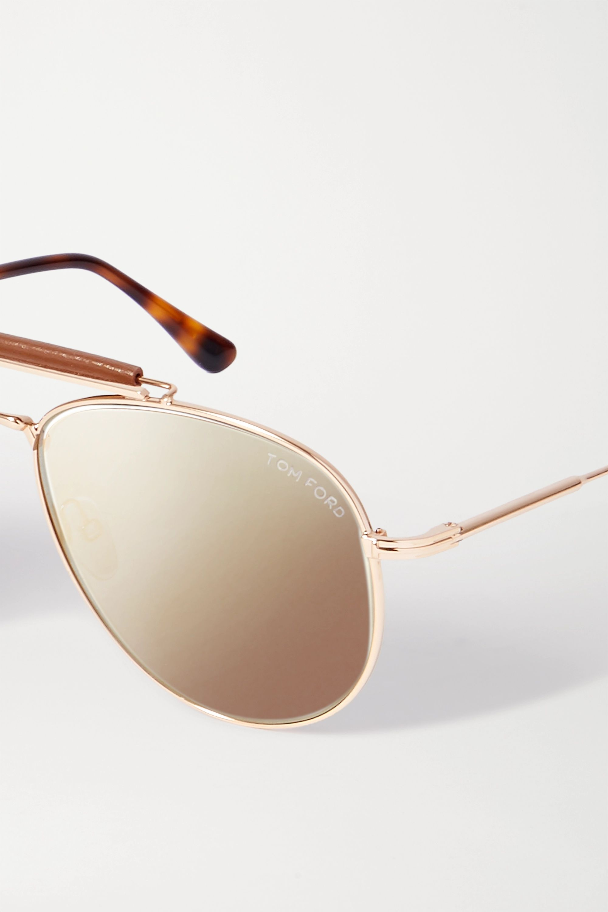 TOM FORD Sean aviator-style leather-trimmed rose gold-tone and acetate sunglasses