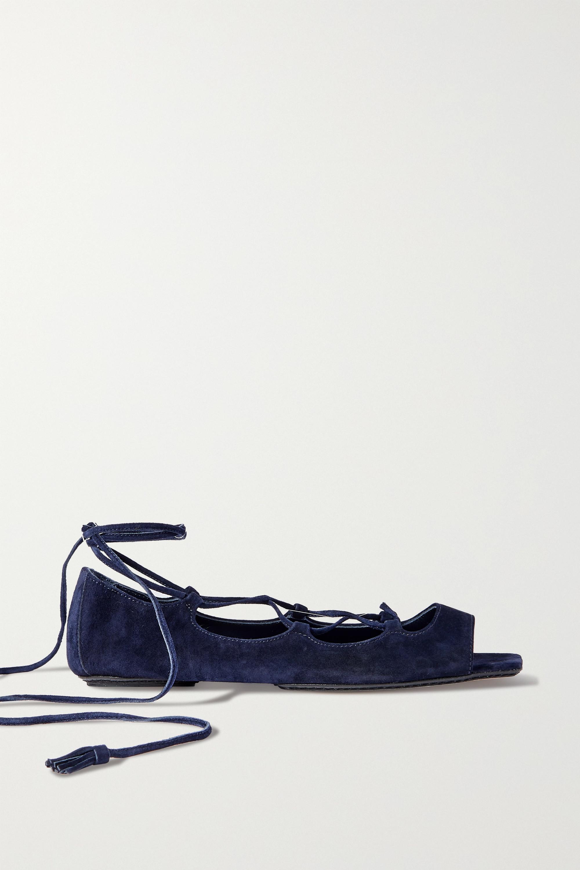 Khaite The Enid lace-up suede sandals