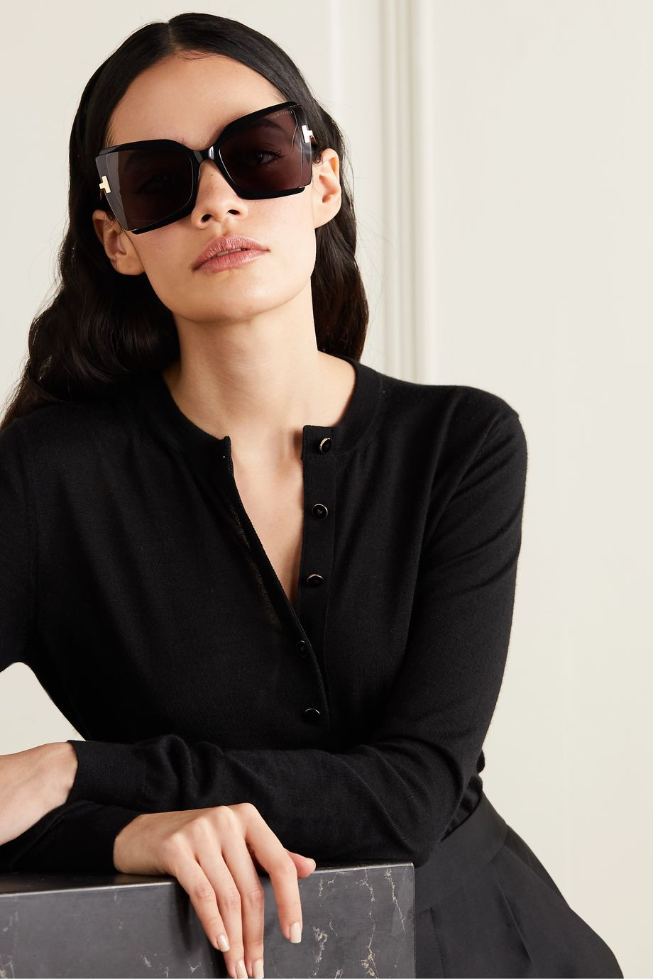 TOM FORD Oversized square-frame acetate sunglasses