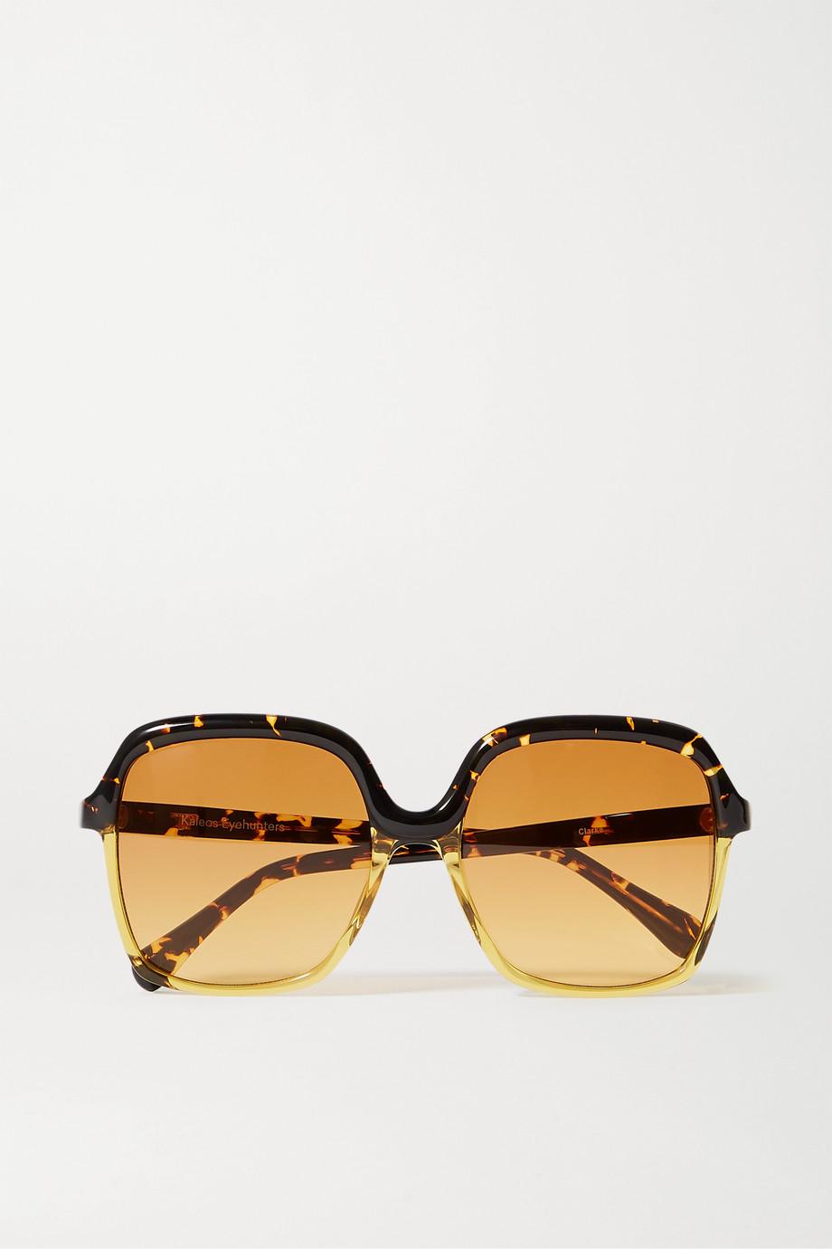 Kaleos Clarke oversized square-frame tortoiseshell acetate sunglasses