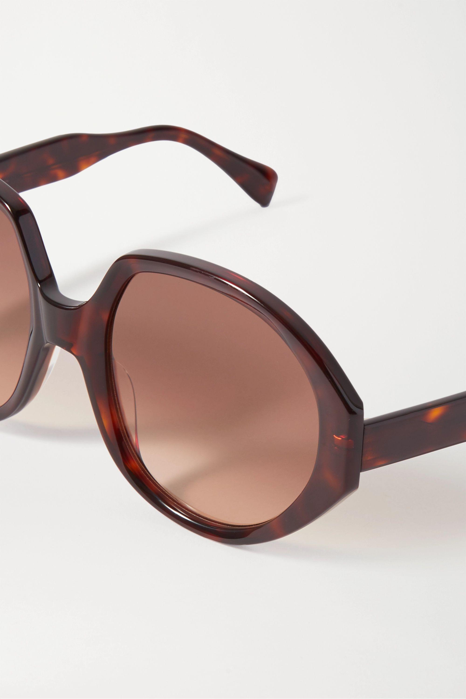 Kaleos Paley oversized round-frame tortoiseshell acetate sunglasses