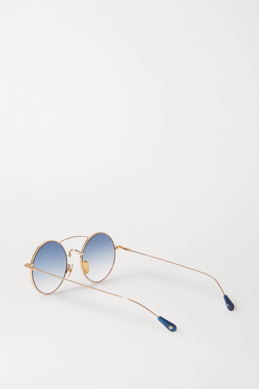 Kaleos Round-frame gold-tone sunglasses