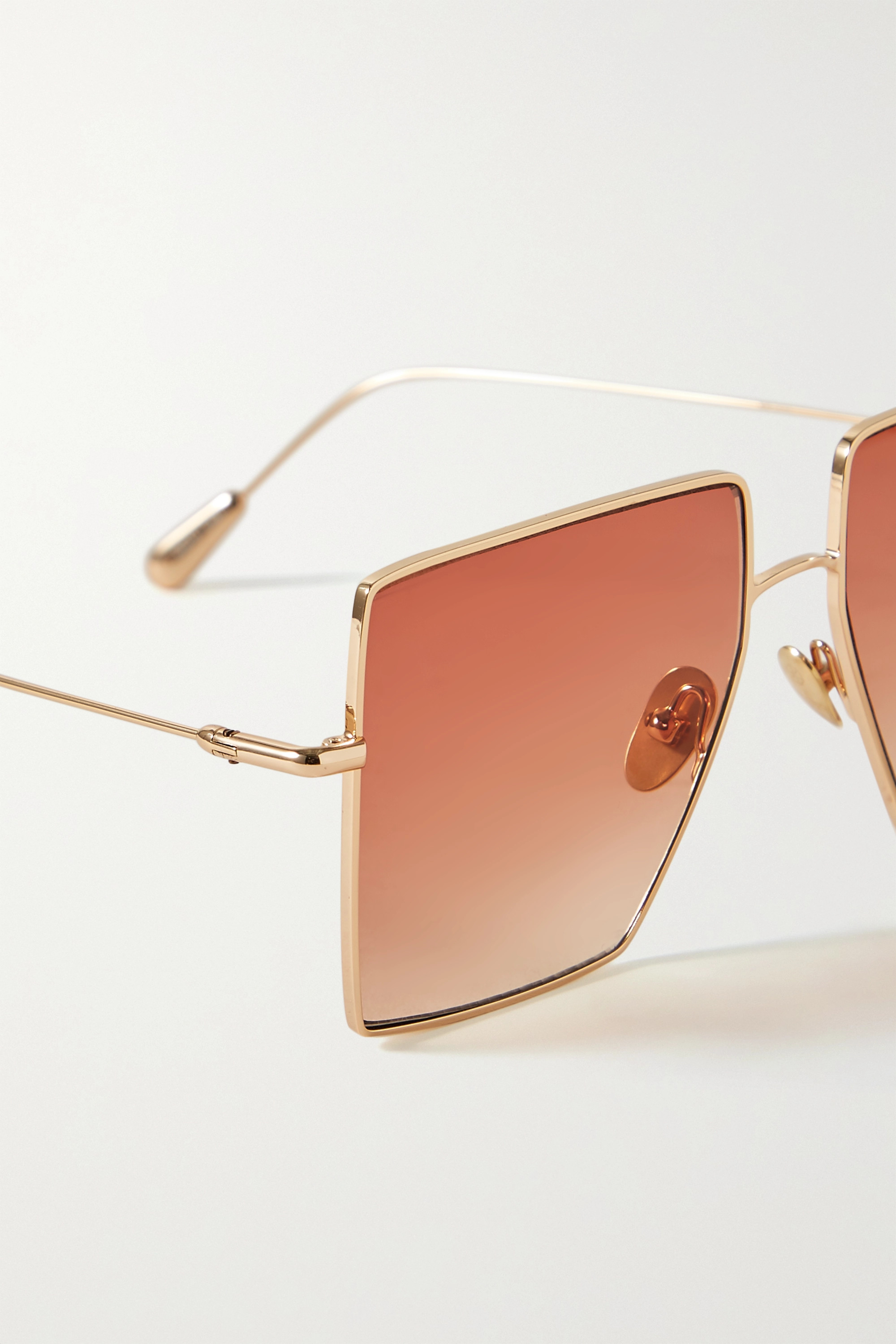 Kaleos Oversized square-frame gold-tone sunglasses
