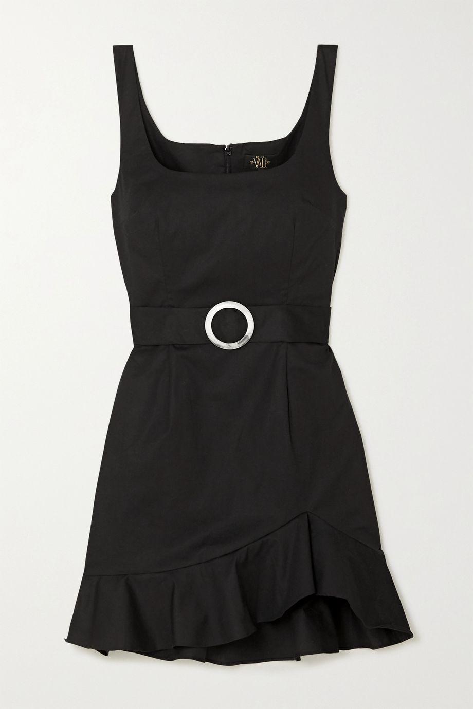 De La Vali Christabel belted ruffled cotton-blend mini dress