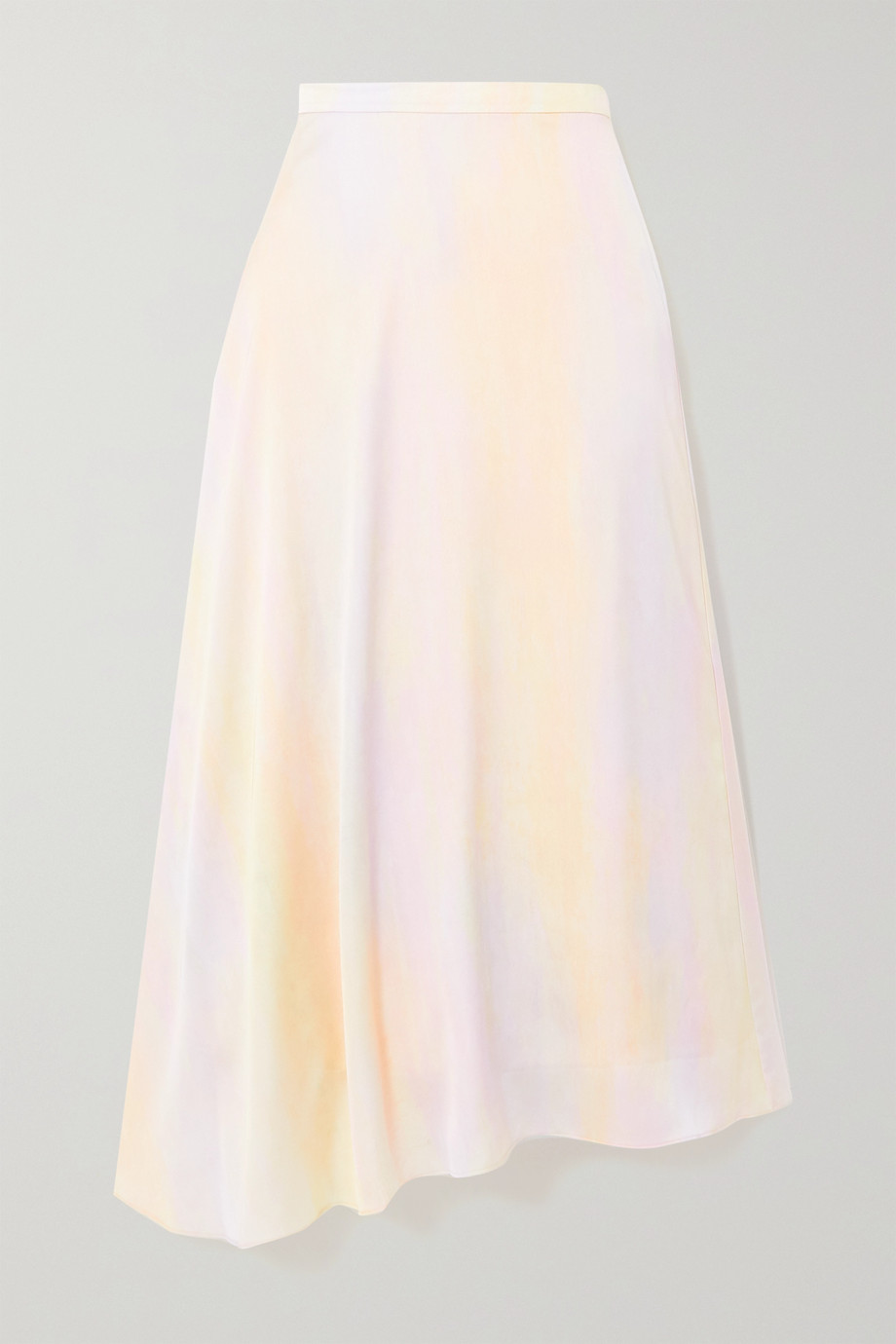 Vince Asymmetric printed satin midi skirt