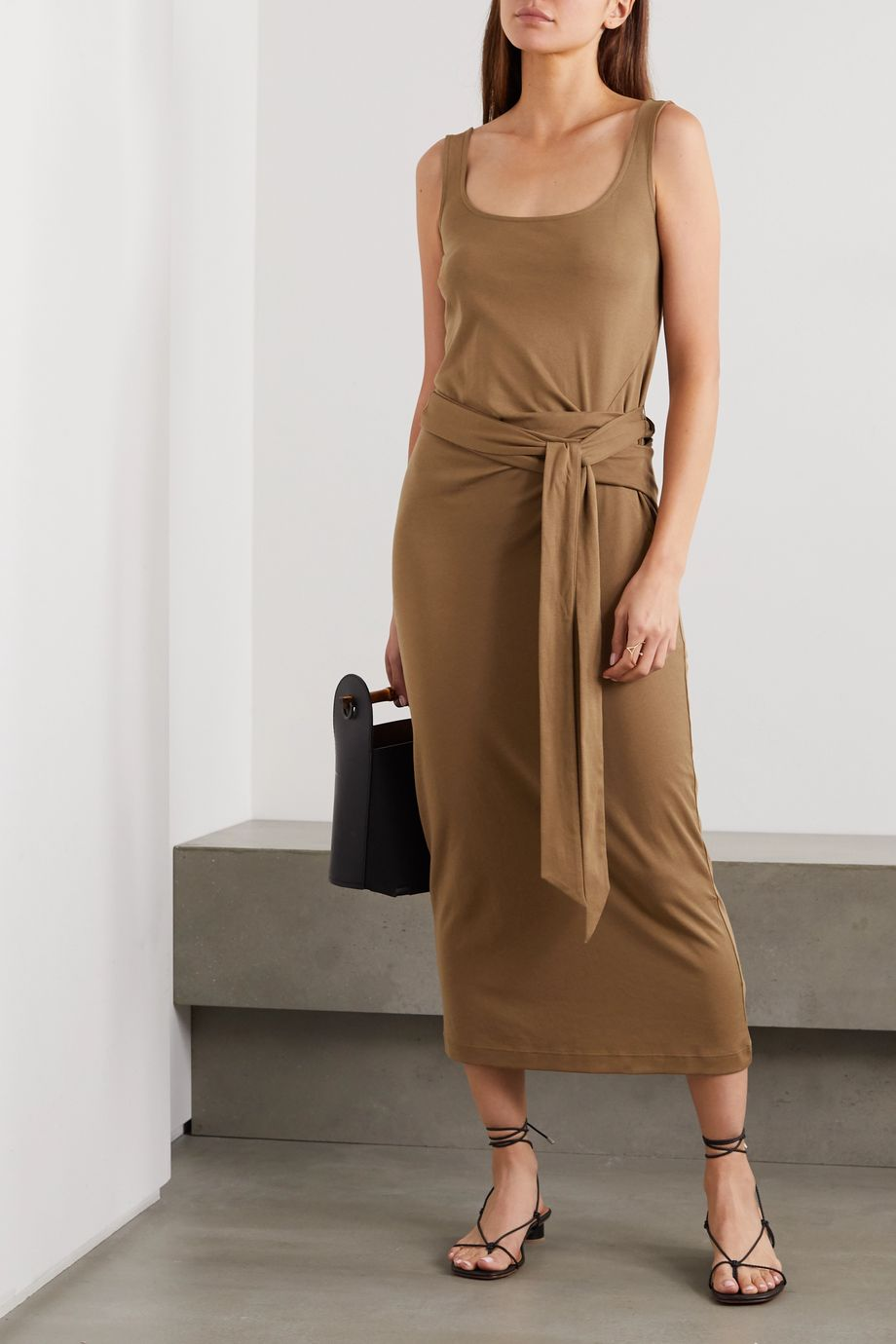 Vince Pima cotton-jersey wrap midi dress
