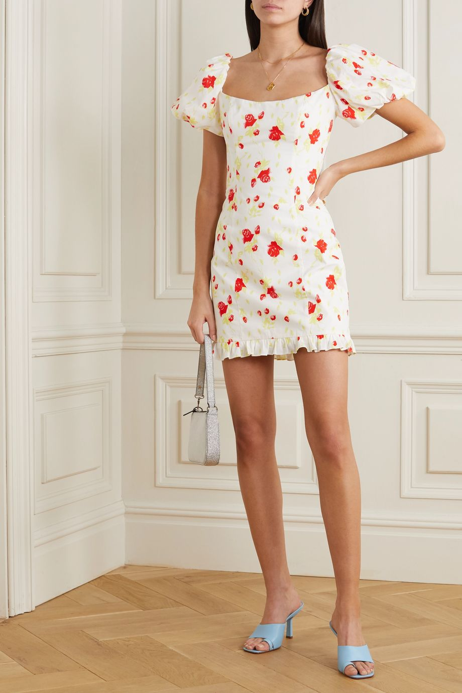 De La Vali Koko floral-print cotton-blend poplin mini dress