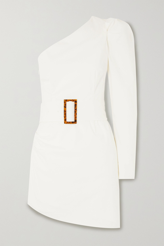 De La Vali One-sleeve belted asymmetric stretch-cotton poplin mini dress