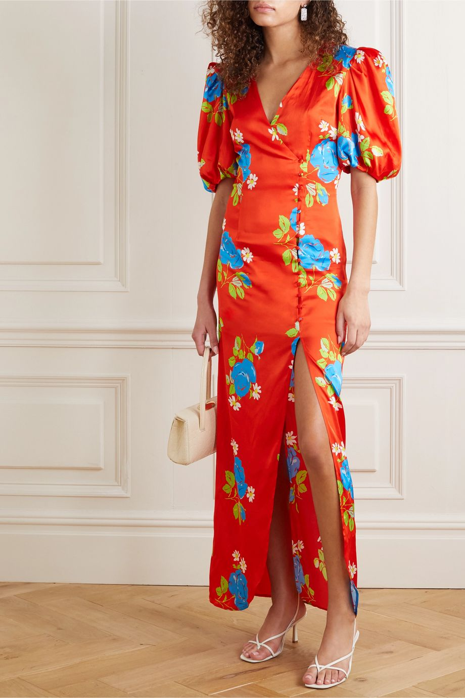 De La Vali Ohio floral-print satin dress