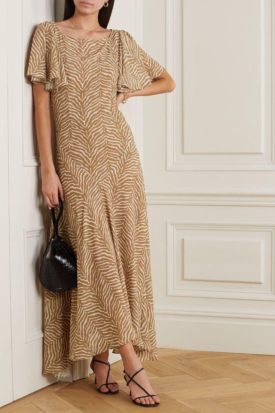 De La Vali Olivia asymmetric tiger-print georgette maxi dress