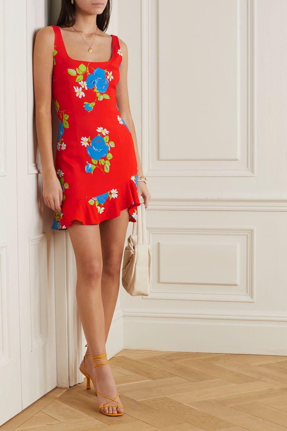 De La Vali Christabel ruffled floral-print crepe de chine mini dress