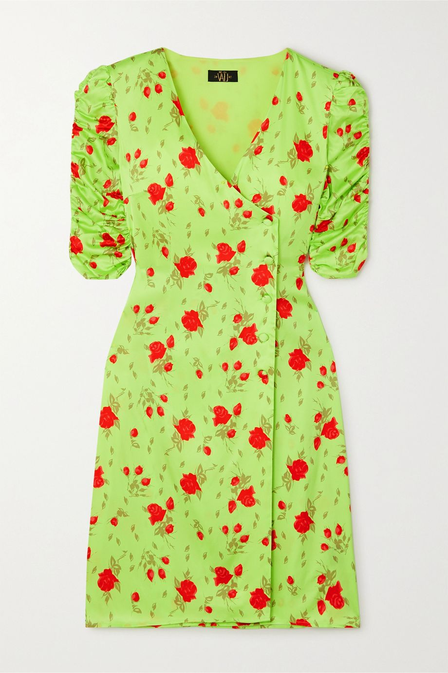 De La Vali Minnesota floral-print satin wrap dress