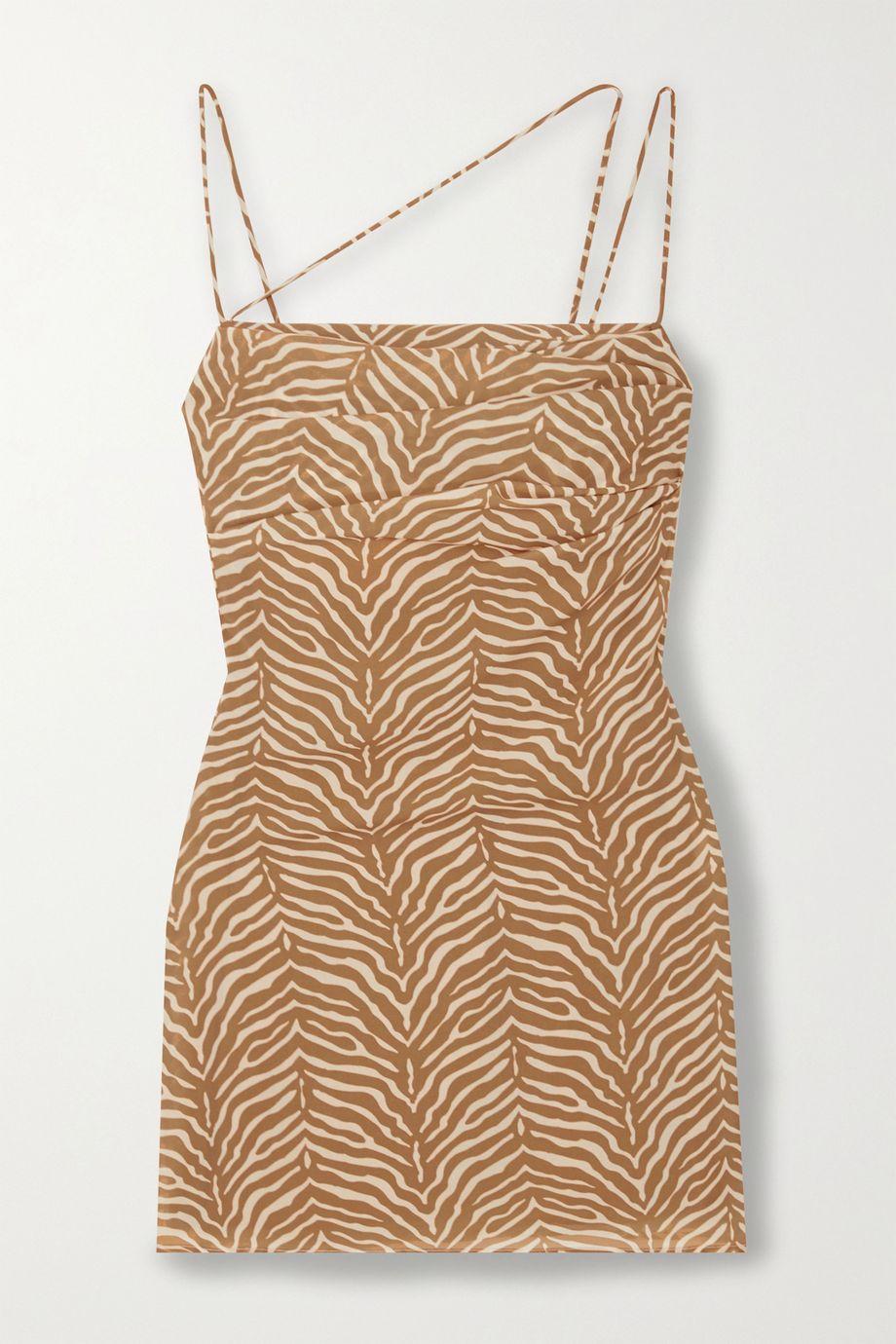 De La Vali Frisco ruched tiger-print georgette mini dress