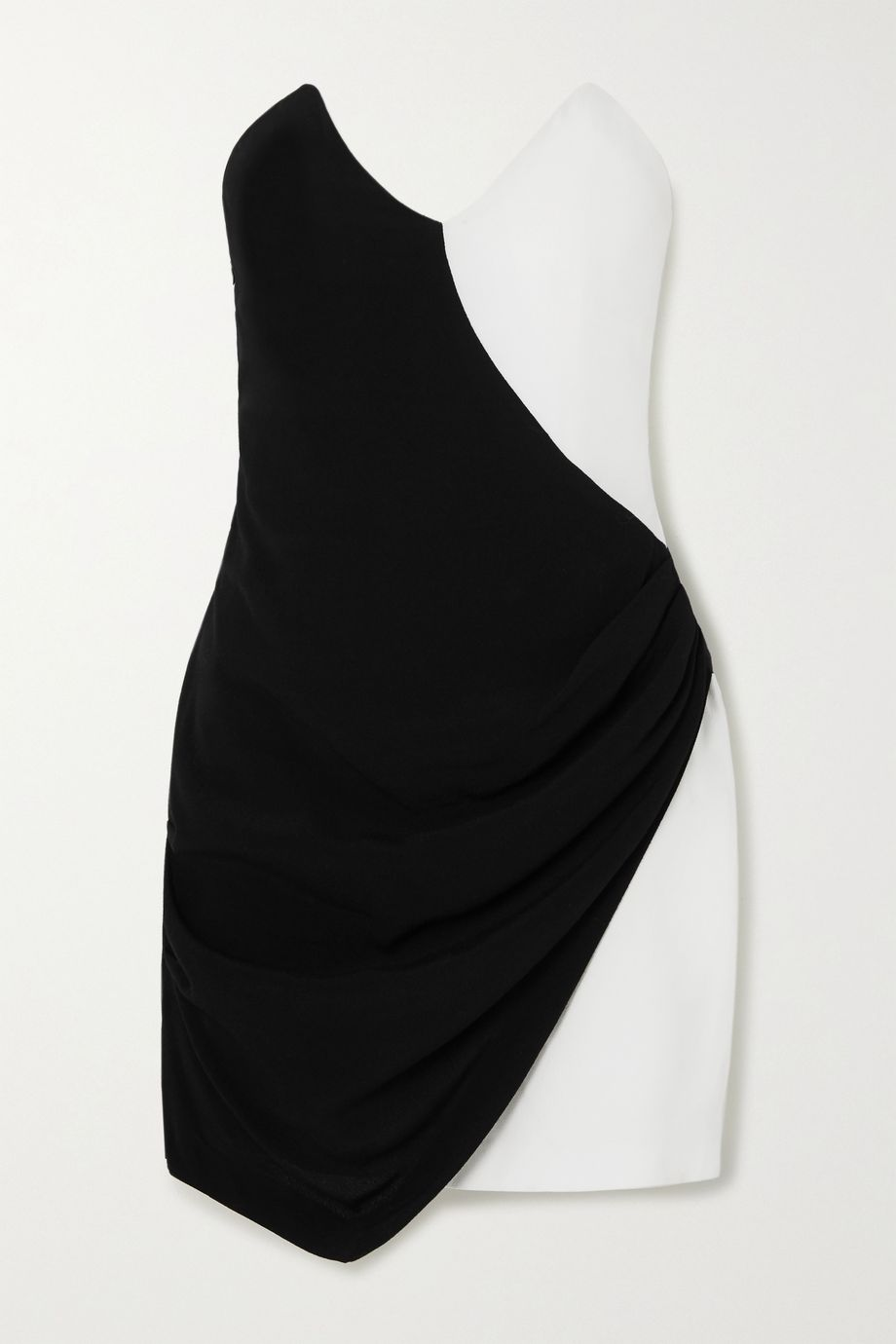 De La Vali Dallas two-tone strapless crepe mini dress