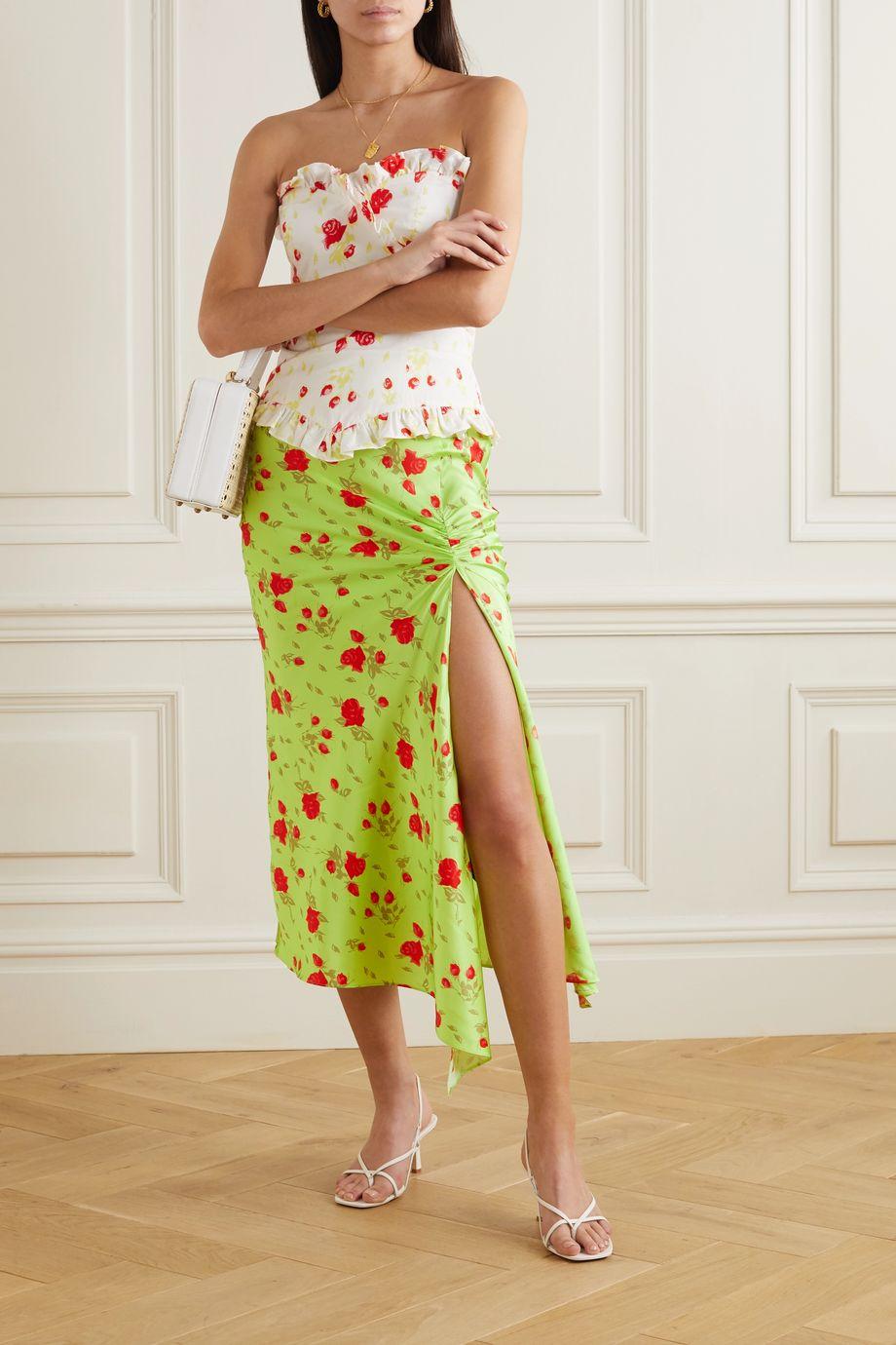 De La Vali Caroline ruched neon floral-print satin midi skirt